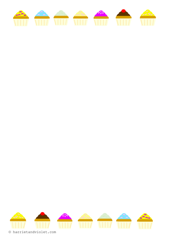 cupcake resources border paper number line etc by