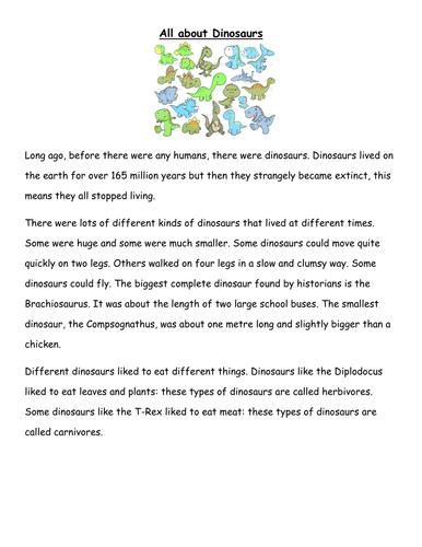 Non fiction Dinosaur Comprehension