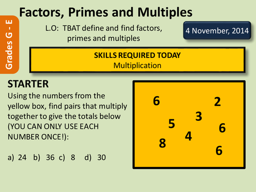 Factors Multiples and Primes by deselby Teaching Resources TES – Worksheets on Factors and Multiples