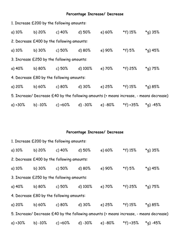 Worksheet on percentage increase and decreases