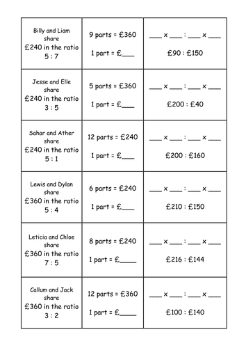 ratio dividing in a quantity matching activity by jhofmannmaths teaching resources. Black Bedroom Furniture Sets. Home Design Ideas