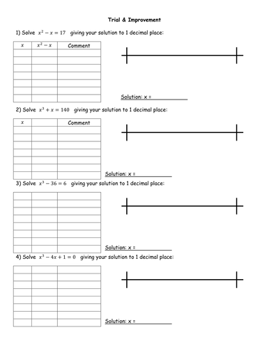 Trial And Improvement Worksheet By Jhofmannmaths Teaching