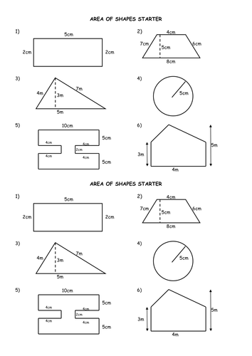 Area Of Shapes Starter Inc Circle Compound By
