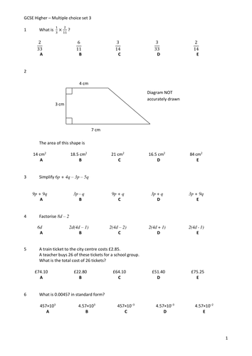 Multiple Choice Questions Gcse Maths Higher Tier By