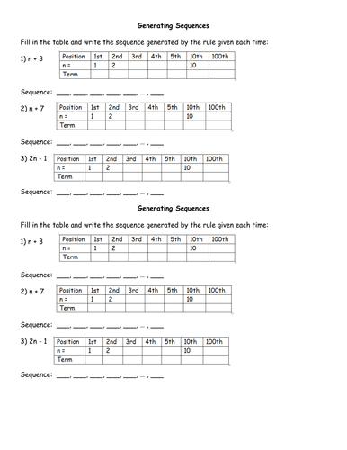 Generating Sequences Worksheet by jhofmannmaths - Teaching ...