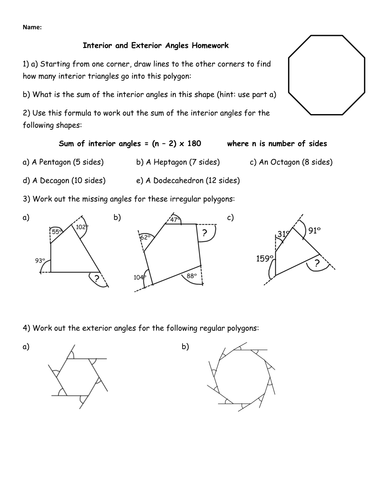 Interior And Exterior Angles Homework By Jhofmannmaths Teaching Resources Tes