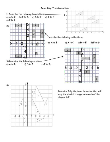 Describing Transformations Worksheets by jhofmannmaths - Teaching ...