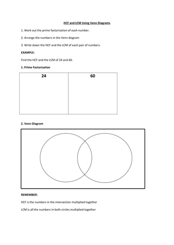 Hcf And Lcm Using Venn Diagrams Worksheet By Pascaler Teaching