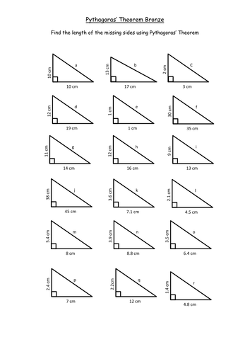 Printables Pythagorean Theorem Worksheet pythagorean theorem worksheet davezan easy davezan