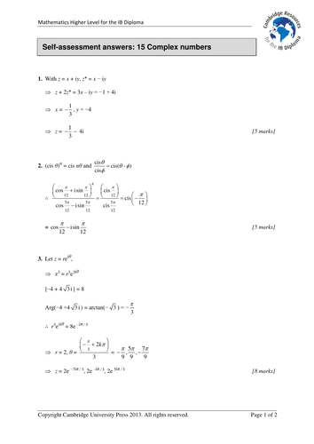 Cambridge Ib Maths Hl 15 Complex Numbers Assess Teaching Resources