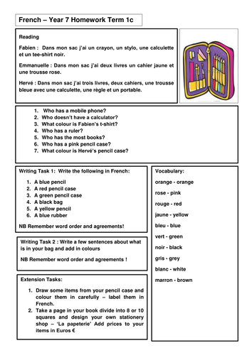 year 7 french homework by emmavjw teaching resources tes. Black Bedroom Furniture Sets. Home Design Ideas