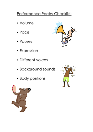 Performance Poetry Checklist   Teaching Resources