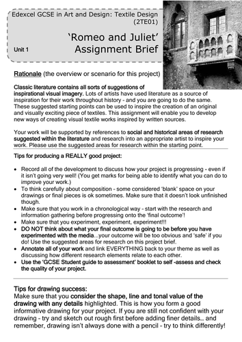 Edexcel Art and Design GCSE coursework project
