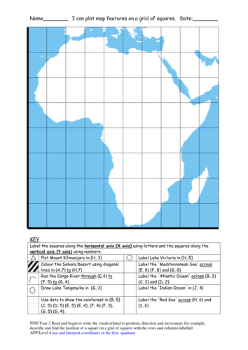 Map Of Africa Ks2.Plotting Map Features Of Africa On A Grid By Nortsandcrosses