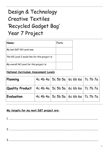 KS3 RECYCLED GADGET BAG project workbook