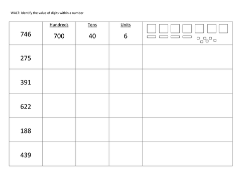 Partitioning 3 digit numbers by Claireyx - Teaching Resources - Tes