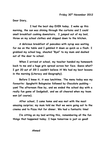 Writing In A Diary ~ Wagoll diary entry by sh teaching resources tes