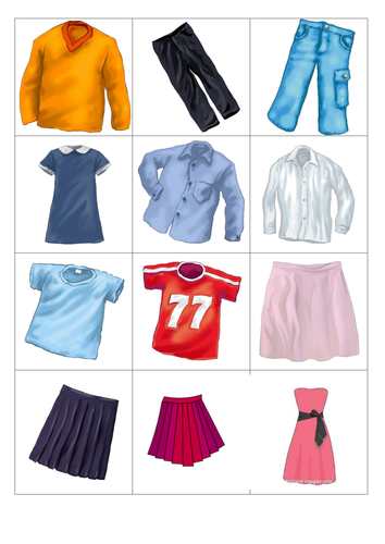 First six words items of clothing (French) by egan02