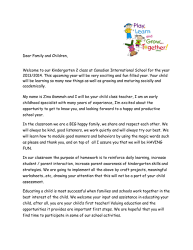 Letter To Parents From Teacher Beginning Of The Year.Welcome Letter For Parents