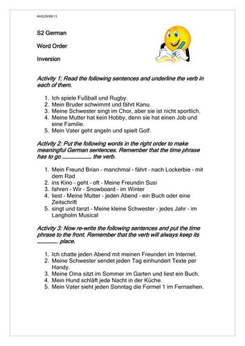 word order time phrases ks3 german worksheet by rosered27 teaching resources tes. Black Bedroom Furniture Sets. Home Design Ideas
