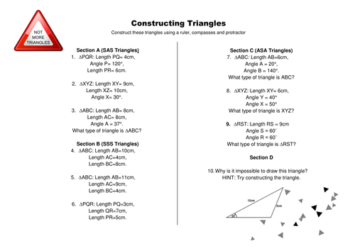 Constructing Triangles by CALeech Teaching Resources Tes – Constructing Triangles Worksheet