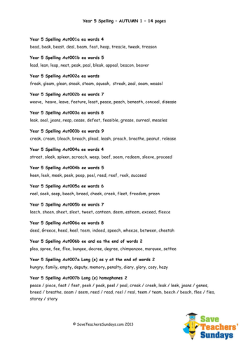 English Year 5 Worksheets: year 5 spellings words lists new curriculum by saveteacherssundays ,