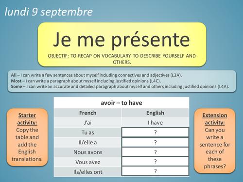 KS3 French: Describing Yourself - Métro 2