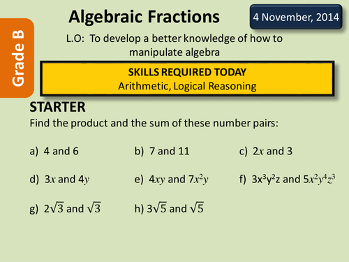 Simplifying Algebraic Fractions by deselby Teaching Resources TES – Simplifying Algebraic Fractions Worksheets