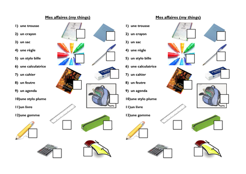 Year 7 classroomschoolbag objects by myrtille Teaching – Classroom Objects in Spanish Worksheet