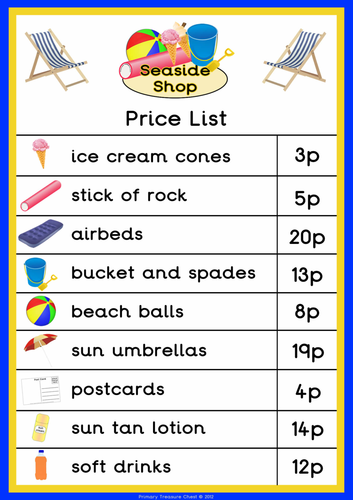 seaside shop price list by primarytreasurechest teaching resources. Black Bedroom Furniture Sets. Home Design Ideas