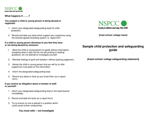 sample child protection safeguarding guide
