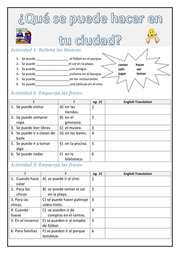 Spanish: Se puede/you can worksheet
