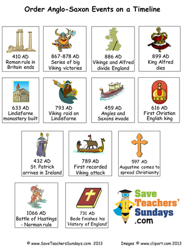 Anglo saxon and viking timeline events to order by anglo saxon and viking timeline events to order by saveteacherssundays teaching resources tes ibookread