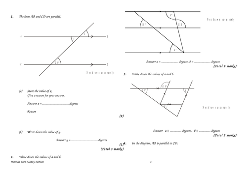Angles in parallel lines GCSE questions