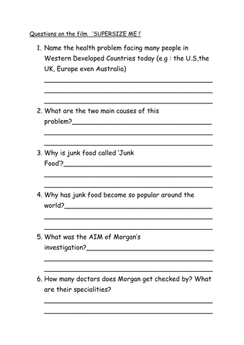 super size me film worksheet