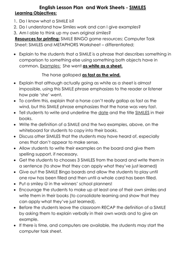 Similes - Lesson Plan and Differentiated Resources by HelenLyall ...
