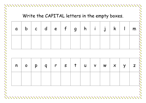 capital letter worksheet by missyrobinson teaching resources tes. Black Bedroom Furniture Sets. Home Design Ideas