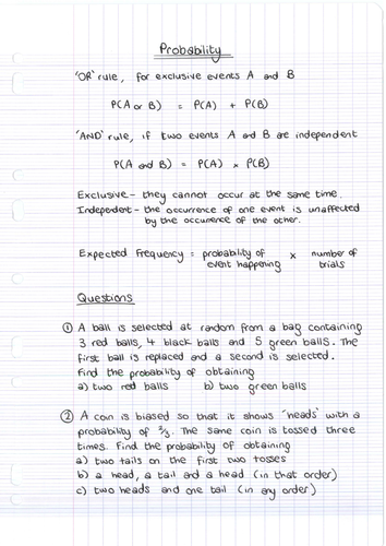 GCSE Higher Tier Probability Questions