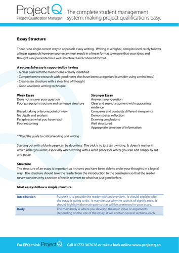 epq guide essay structure by ascal teaching resources tes