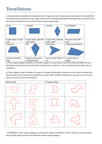 Worksheet Tessellations Worksheet tessellations worksheet by tristanjones teaching resources tes docx