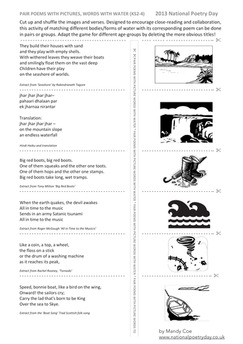 Cut up and shuffle images and verses KS2-4