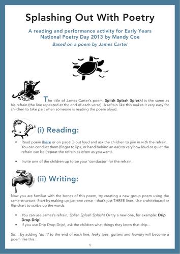 Splish Splash Splosh! A reading and performance