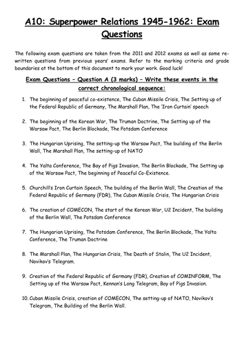 Superpower Relations: Practice Exam Questions by benny836