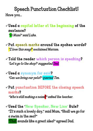 Speech Punctuation Checklist Poster