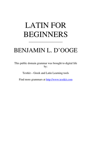 Latin For Beginners   Teaching Resources