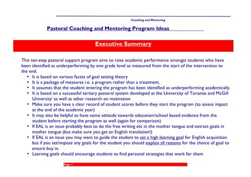 Pastoral/Academic Goal Setting Program