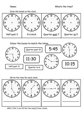 Time - o'clock, half past, quarter to and past by sophiawg ...