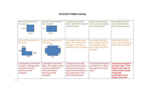 Perimeter Problem Solving By Croe77 Teaching Resources Tes