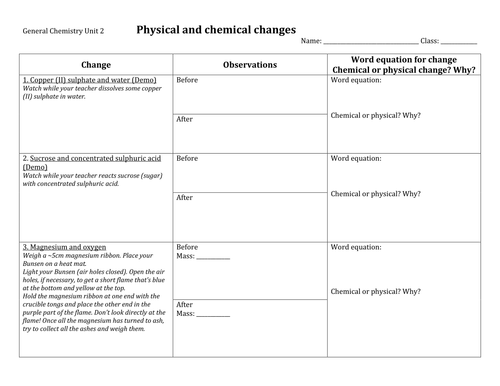 Physical and chemical changes practical by jimex Teaching – Worksheet on Chemical Vs Physical Properties and Changes Answers