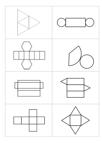 3D shapes and nets card sort